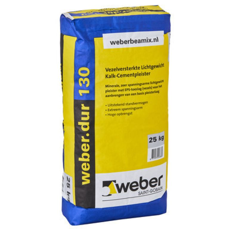 weber.dur 130 vezelversterkte lichtgewicht kalk-cementpleister weberdur